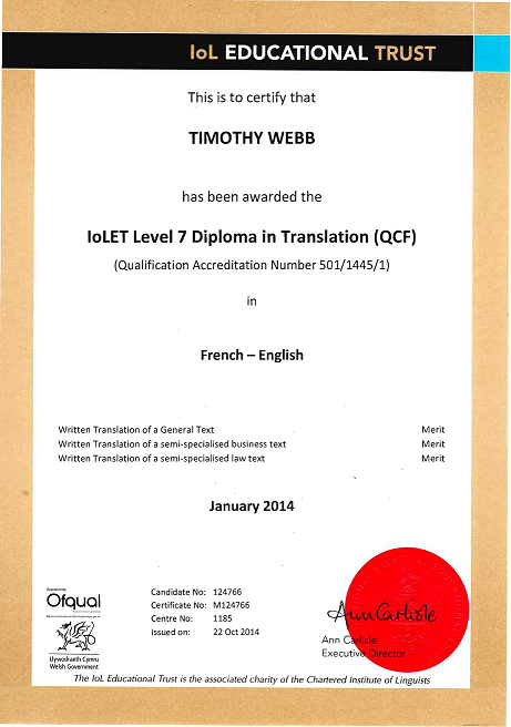 diplome universitaire traduction anglais